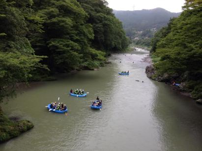 Hiking along the Okutama walking trail from where you can see people rafting below in the river