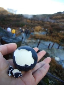 While in Hakone, have an onsen-tamago! Each egg is said to lengthen your life by 7 years!