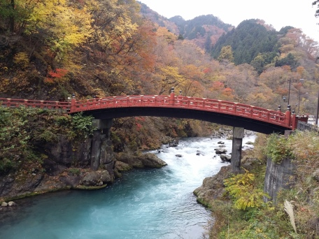 The famous Shinkyo Bridge at the entrance to Nikko's shrines and temples.