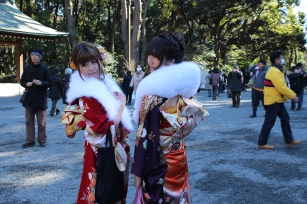 Beautiful young ladies clad in the Furisoude (long-sleeved kimono) for the Coming-of-Age Ceremony. Congratulations!