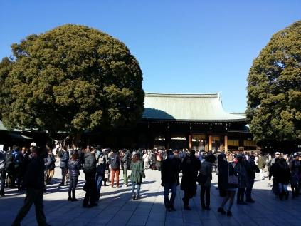 The Meiji Shrine is busy with people praying for the New Year! We joined in too to receive our blessings. ^_^