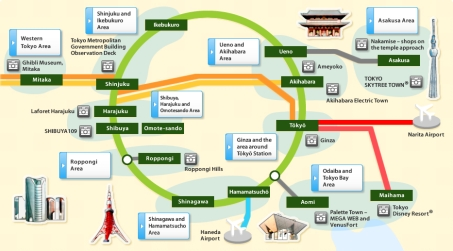 Here is a map from JR East, with recommended attractions along the Yamanote Line.